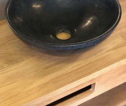 Fontein waskom met eiken plank
