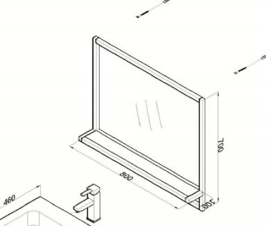 Spiegel Metal 80cm technische tekening
